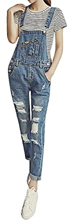ddad56cd92d Hibukk Women s Spring Vintage Comfy Distressed Denim Overalls Maternity  Jeans