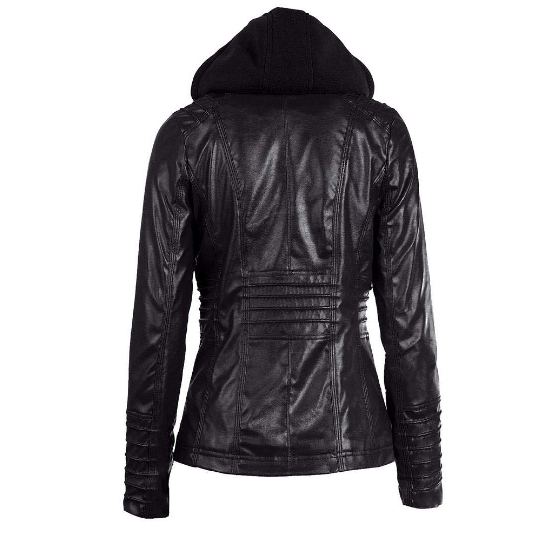 Rambling Womens Hooded Leather Jacket, Slim Overcoat Coat Lapel Removable Zipper Outwear Tops by Rambling (Image #3)