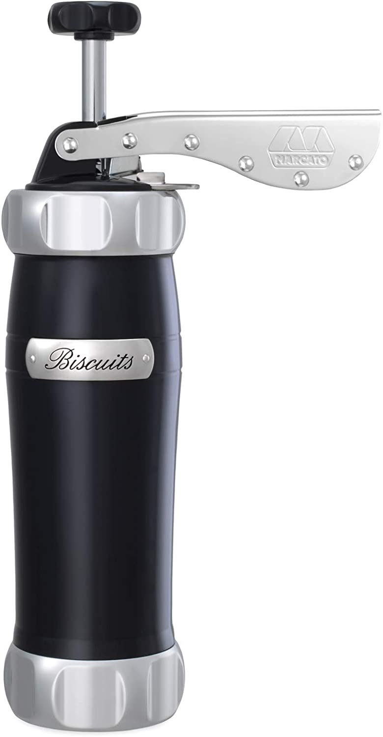 Marcato Atlas Deluxe Biscuit Maker Cookie Press, Made in Italy, Includes 20 Disc Shapes, Black