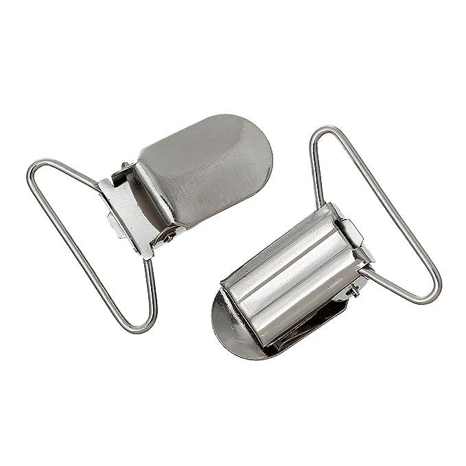 5 Stk. Sadingo Schnullerketten Clips Metall Baby Silber Hosenträger Clip