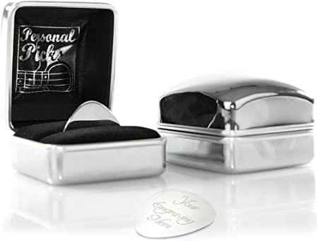 CMJ Stainless Steel Id Pick You Every Time Guitar Pick in velvet gift bag UK Seller