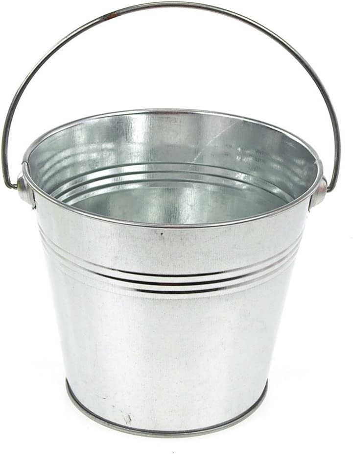 Metal Pail Buckets Party Favor, 5-inch (Silver)