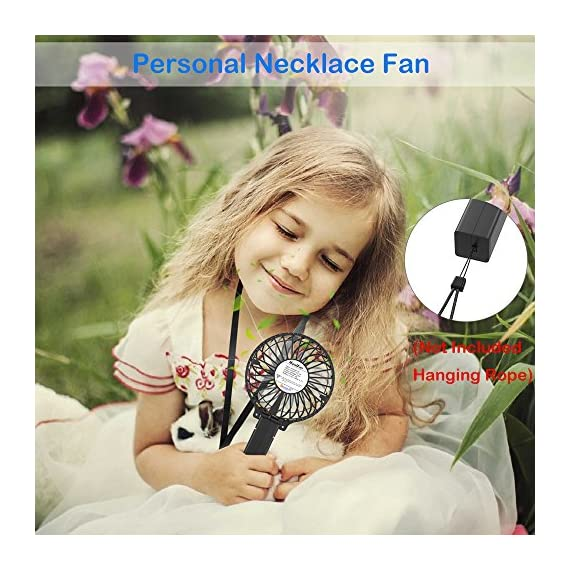 VersionTECH. Mini Handheld Fan, USB Desk Fan, Small Personal Portable Stroller Table Fan with USB Rechargeable Battery Operated Cooling Folding Electric Fan for Travel Office Room Household 6 【Hanging Umbrella Design】: Unique design style, you can hang the fan above your umbrella or parasol.The design is ideal for outdoor crowds, and you don't have to worry about the outdoors even when the temperature is so high, because this fan can cool you down,It's a must-have for the summer. 【Folding And Multipurpose Design】: This fan can fold up to 180°.You can use this fan: ①hold it on your hand, ②put it on the table, ③hang it on the sun umbrella, ④clip it on other objects; If you don't know how to use it, please look at the picture or contact us. If you find better uses, you can also tell us. 【ENERGY SOURCE】: This fan is a USB port rechargeable model. It can also be powered directly by batteries, but you must remove the insulation from the battery compartment, otherwise it will not be recharged or used.USB cable can be charged with computer, mobile power, power bank and so on.