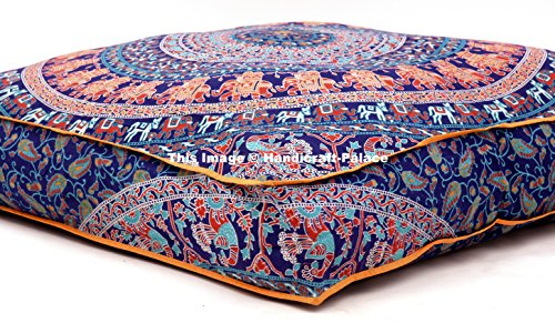 Large Indian Meditation Floor Pillow Cover 35' X 35' Inch Elephant Mandala Ottoman Cushion Dog Bed Outdoor Sofa Day Bed Kids Teen Floor Pillow