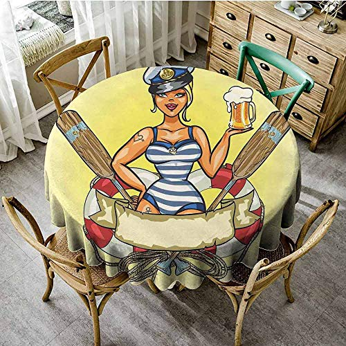 Sailor Girl Pin Up Costume (ScottDecor Girls Christmas Tablecloth Pin-Up Sexy Sailor Girl Lifebuoy with Captain Hat and Costume Glass of Beer Feminine Banquet Round Tablecloth Multicolor Diameter)