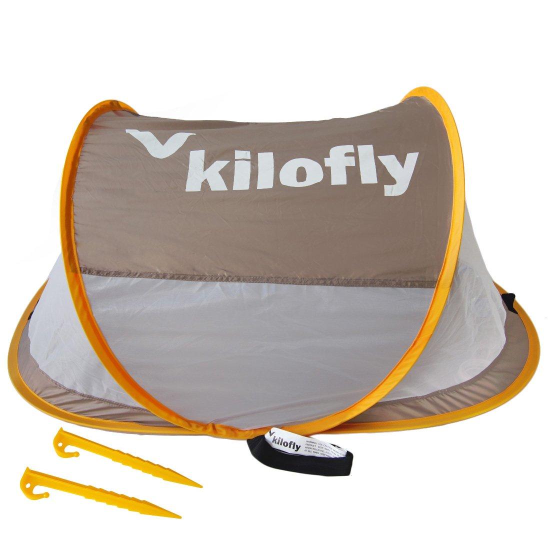 kilofly Flat Top Instant Pop Up Portable UPF 35+ Travel Baby Beach Tent + 2 Pegs