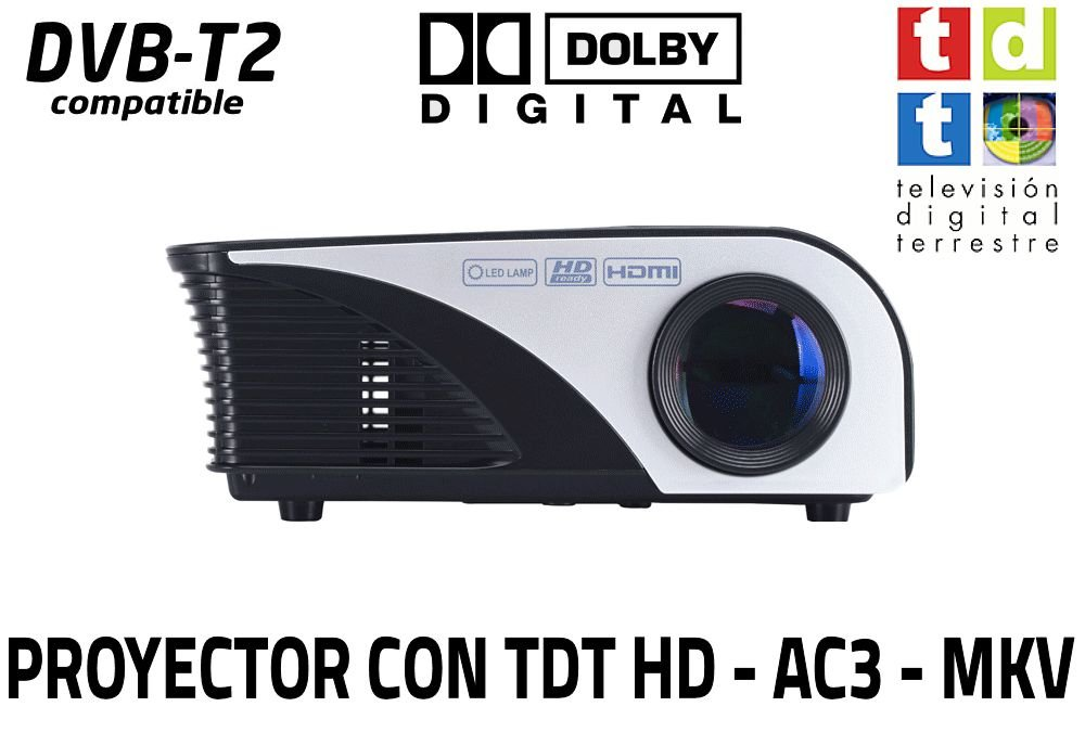 Proyector FULLHD Cine en casa portatil con TDT Unicview SG100 Negro lampara LED de 50.000 Horas Incluye TV TDT, USB, HDMI, VGA, decodificador Dolby ...