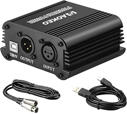 Amazon Com Aokeo 48v Phantom Power Supply Powered By Usb Plug In Included With 8 Feet Usb Cable Bonus Xlr 3 Pin Microphone Cable For Any Condenser Microphone Music Recording Equipment