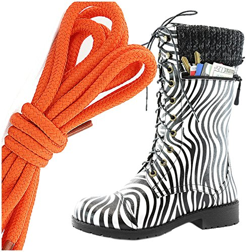 DailyShoes Womens Combat Style Lace up Ankle Bootie Round Toe Military Knit Credit Card Knife Money Wallet Pocket Boots, Orange Zebra Pu