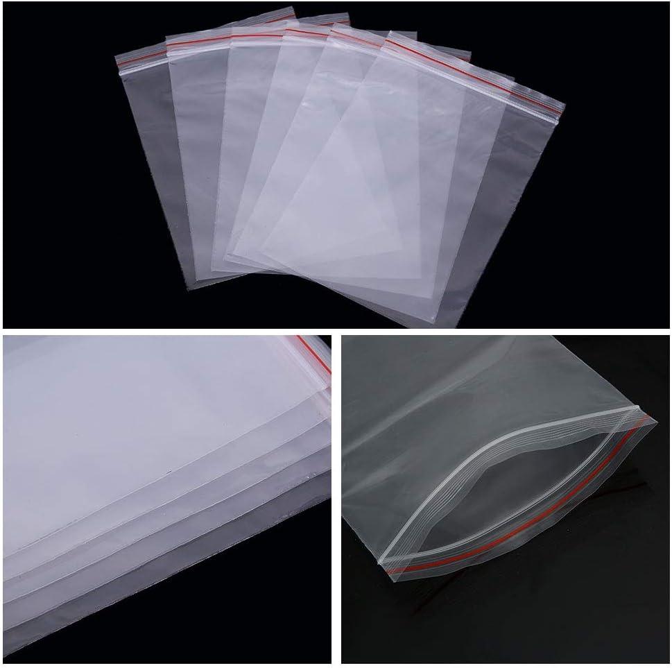 Dsaren 100 PCS Petit Sachet Plastique Transparent Sachet Zip Alimentaire Sachets Refermables Zip pour Rangement de Bijoux Aliments Artisanat Min/éraux Vitamines 14 * 20cm // 5.5 * 7.9 Pouces