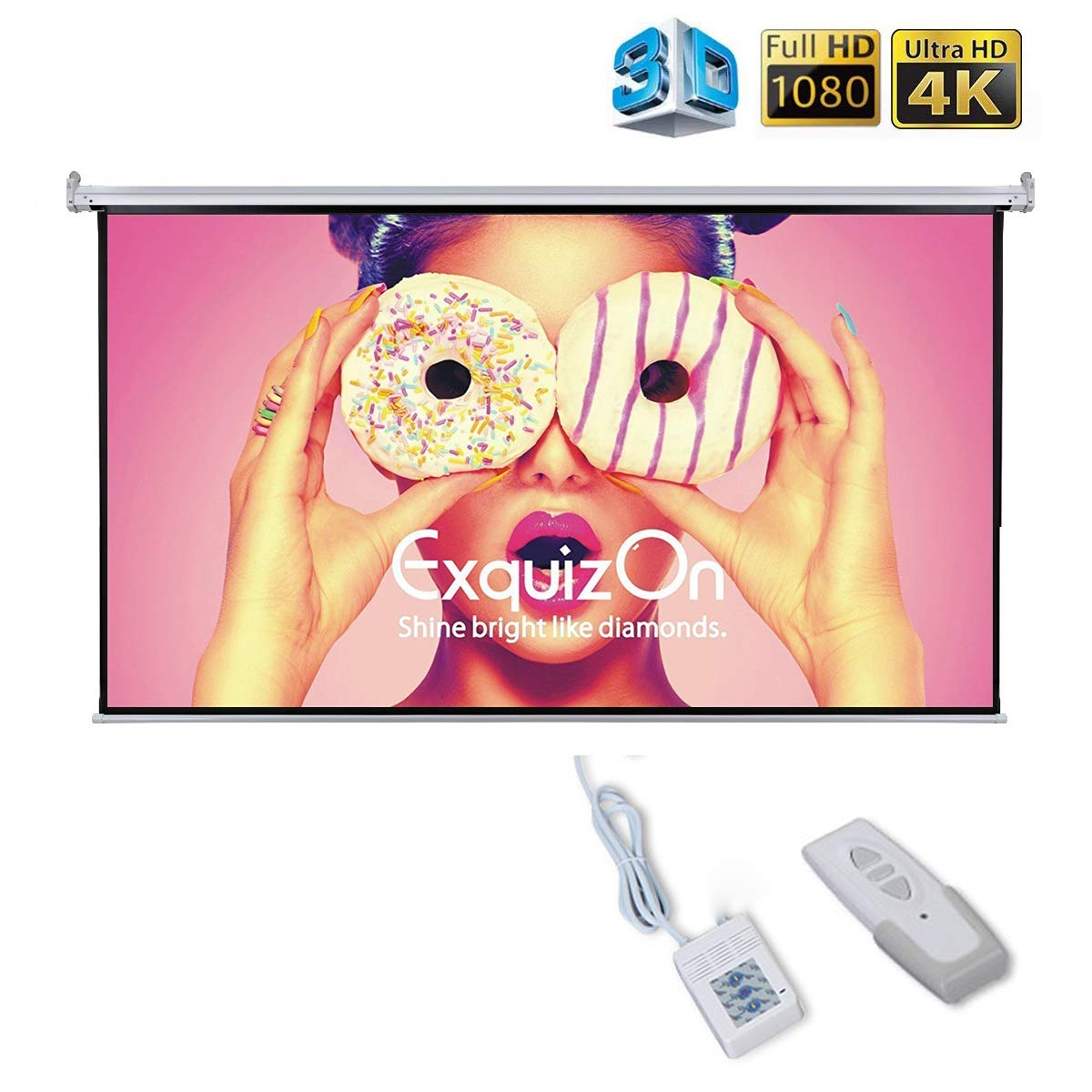 Motorized Projector Screen with Remote Control, ExquizOn Ceiling Wall Portable Projector Screen 100 inch 16:9 1.2 Gain AUTO Electric HD 4K Indoor Outdoor for Family Home Theater and Office