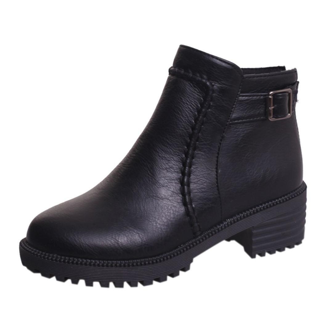 SUKEQ Women's Low Heel Slip On Ankle Boots, Side Zipper Short Booties Martin Boots for Girls (7.5 B(M) US, Black)
