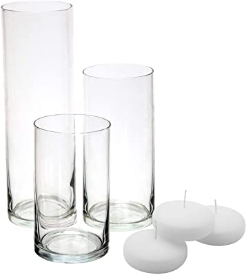 Amazon Eastland Glass Cylinder Vase Set Of 3 Home Kitchen
