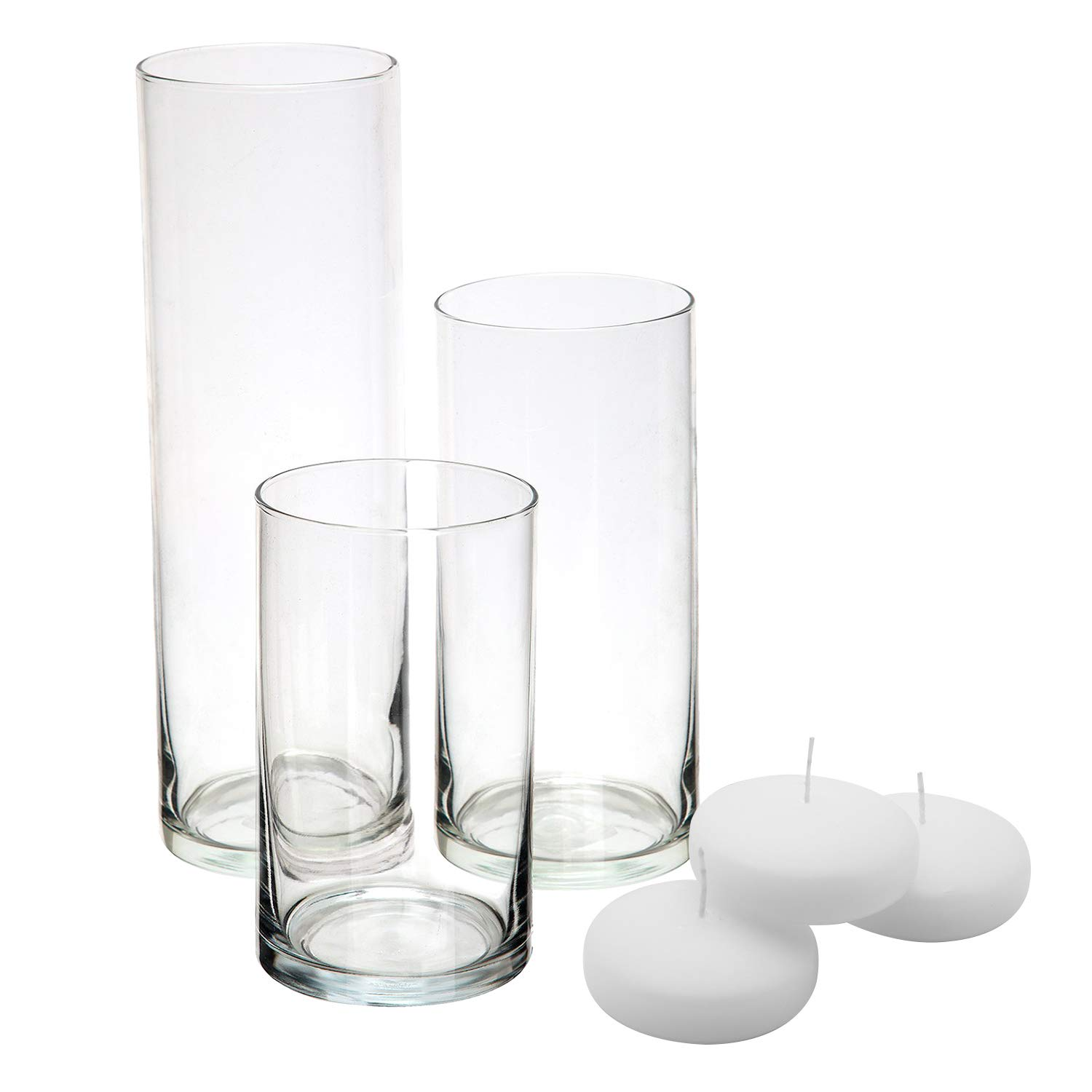 Royal Imports Glass Cylinder Vases - Set of 3 - Including 3 Floating DISC Candles, Decorative Centerpieces for Home or Wedding