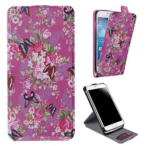 Xtra-Funky Exclusivo Cuero estilo del tirón cubierta de la caja de la carpeta con hermosas púrpura elegante floral de la flor y mariposas Diseños para Samsung Galaxy S5 Mini - Diseño B30 B30