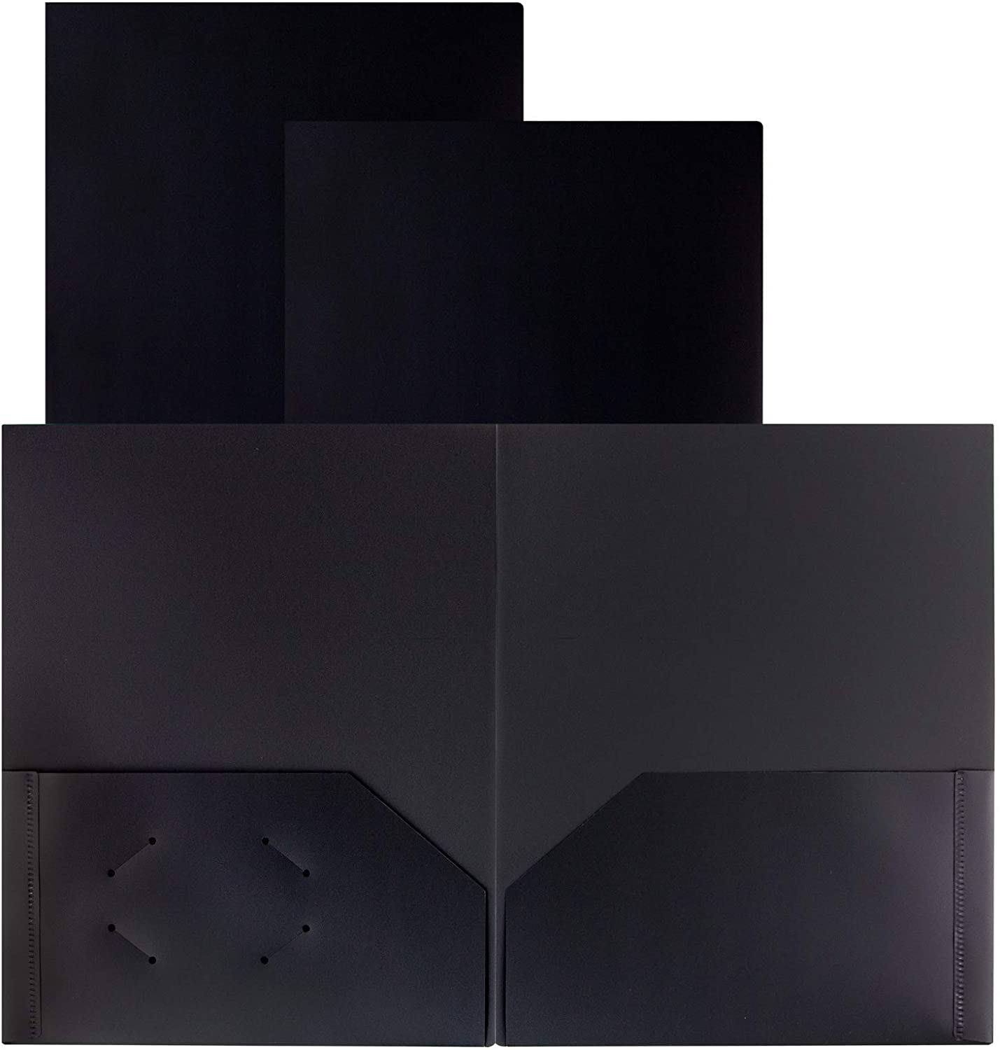 Dunwell Black Folders with Pockets – (3 Pack) Black Plastic Folders, Include Removable Labels, Professional Black Folder 2 Pockets, Heavy Duty Plastic Folder No Prongs for School, Home or Office