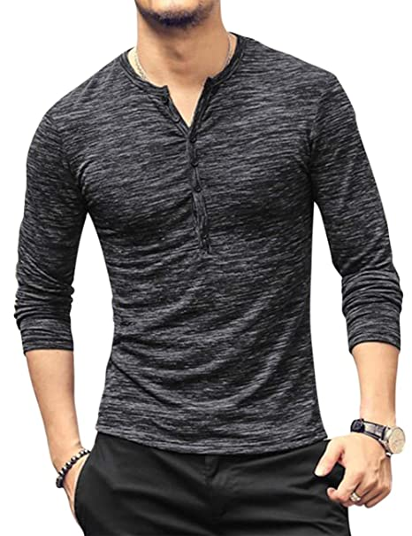f14b8bd10a6 Kuulee Men s Casual Henley T-Shirt Long Sleeve Slim Fit Button Down Basic  Tops Tee