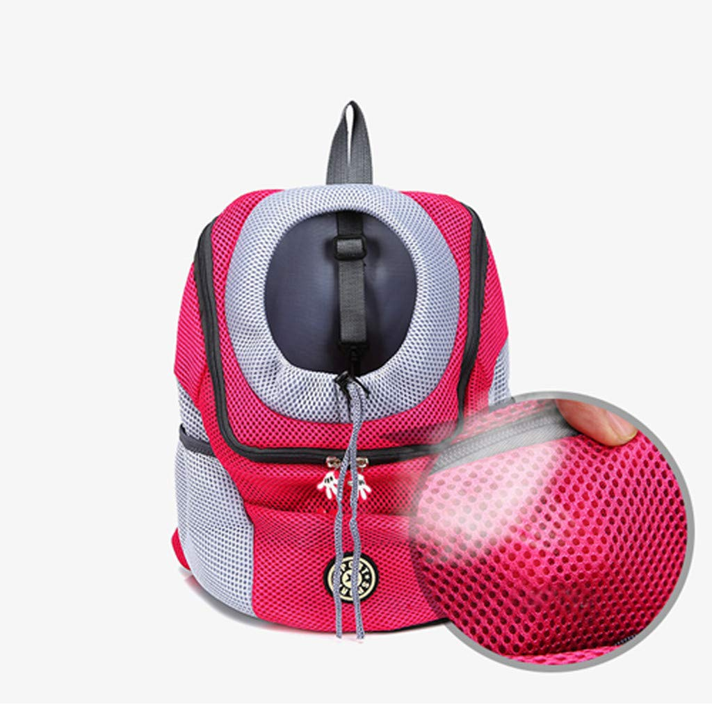 Kuerqi Premium Pet Carrier Backpack for Small Cats and Dogs Outdoor Double Shoulder Bag Backpack Pet Travel Dogs Cat Carrier Designed for Travel, Hiking & Outdoor Use (red) by Kuerqi