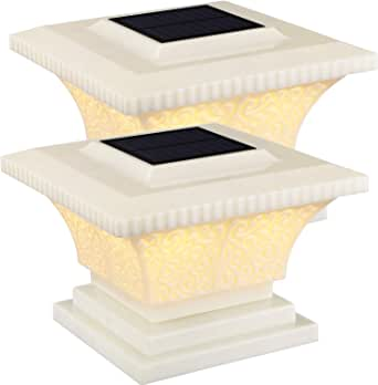 TORCHSTAR Solar Post Cap Lights Outdoor, Waterproof Square Fence Light, Warm White Lamp, 360° Beam Angle, Fits 4x4, 5x5, 6x6 Posts, for Deck, Garden or Patio, Pack of 2