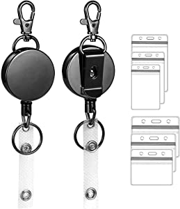 zgrmzql 2 Pack Retractable Badge Holder Heavy Duty Metal ID Badge Reels with Belt Clip Key Ring for Office Worker Doctor Nurse with 6pcs Card Holders