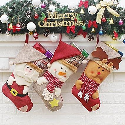 myfashion christmas stockings set of 3 holiday home decor 17 santa snowman and reindeer stockings