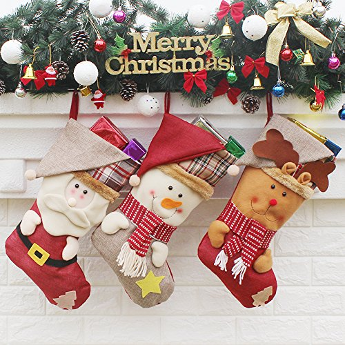 Myfashion Christmas Stockings Set of 3 Holiday Home Decor 17