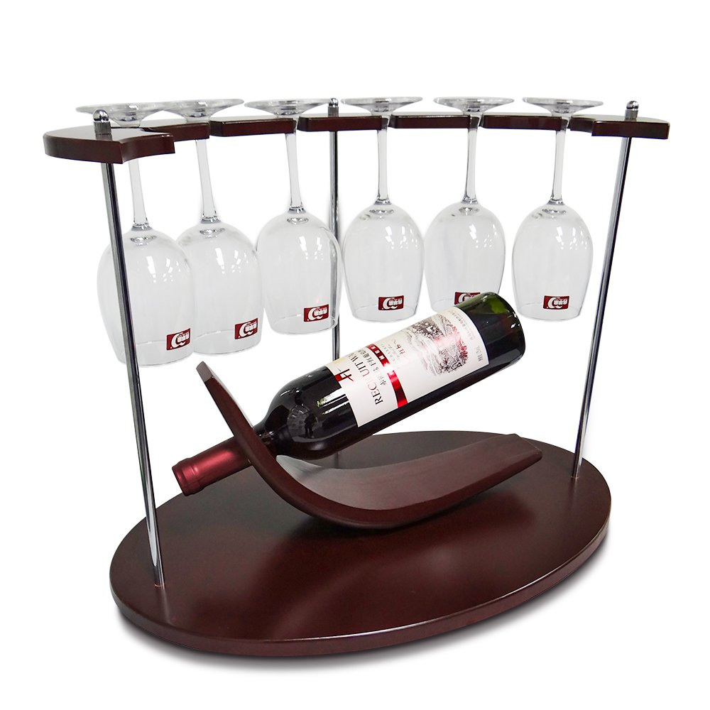 AMZNEVO Best Small Wine Rack With Glass Holder by, Unique/Countertop/Free Standing/Wooden, 1 Bottle & 6 Glasses Stemware Organizer For Kitchen Furniture Decoration