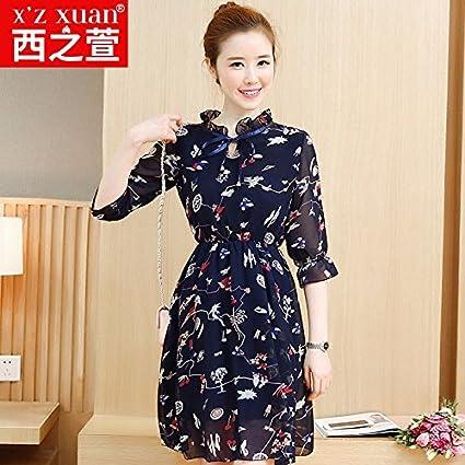 El resorte de la gasa vestidos faldas saika moda coreana una falda,L,azul