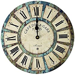Eruner 14-inch Vintage Wood Wall Clock - France Paris Colourful French Country Tuscan Style Quartz Movement #12888 Non-Ticking Silent Wooden Wall Clock (#03)