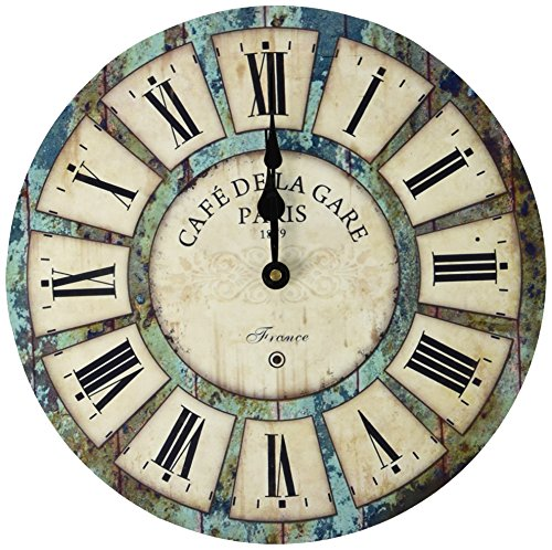 Eruner 14-inch Vintage Wood Wall Clock - France Paris Colourful French Country Tuscan Style Quartz Movement #12888 Non-Ticking Silent Wooden Wall Clock (#03) (Wall French Clock)