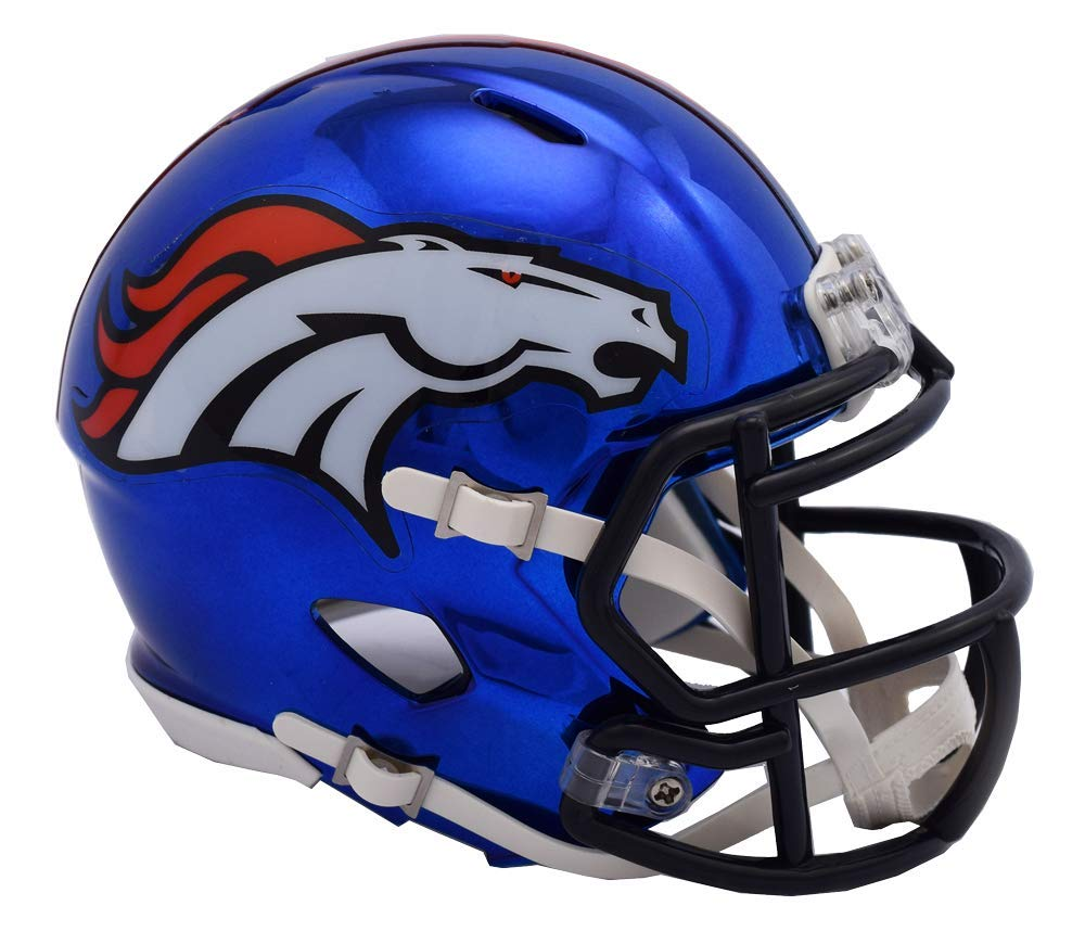 Riddell Chrome Denver Broncos Speed Mini Football Helmet - 2018 Chrome Alternate