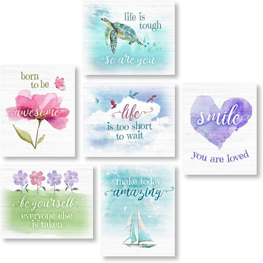 """6 Unframed 8""""X10"""" Pieces of Inspirational Wall Decor. These Inspirational Posters for Girls Room Are Made Up of Cute, Colorful Quote-Based Prints That Provide Positive, Motivational Reminders Each Day"""