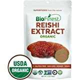 Biofinest Red Reishi Mushroom Extract Powder - 100% Ling Zhi (Ganoderma Lucidum) Superfood - USDA Certified Organic Raw Vegan Non-GMO - Boost Stamina Immunity - for Smoothie Beverage Blend (4 oz)