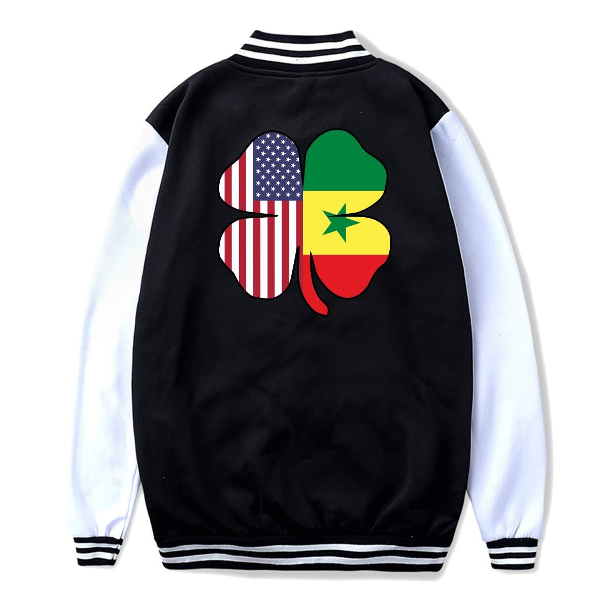 NJKM5MJ Unisex Teen Baseball Uniform Jacket American Senegal Flag Shamrock Coat Sport Outfit Back Print