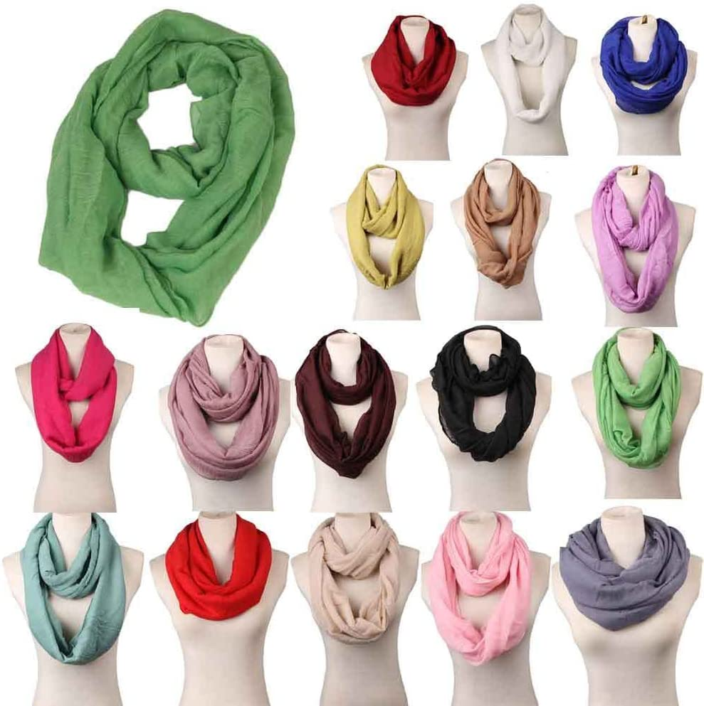 TININNA Damen Frauen Winter Einfarbig Infinity Schal Schlauchschal Winterschal Halsw/ärmer Beige EINWEG Verpackung