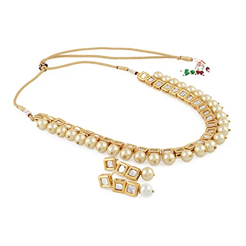 811a9ae594892 Aradhya Stylish Square Kundan and Shining Beige Pearl Necklace Set With  Earrings for Women and Girls