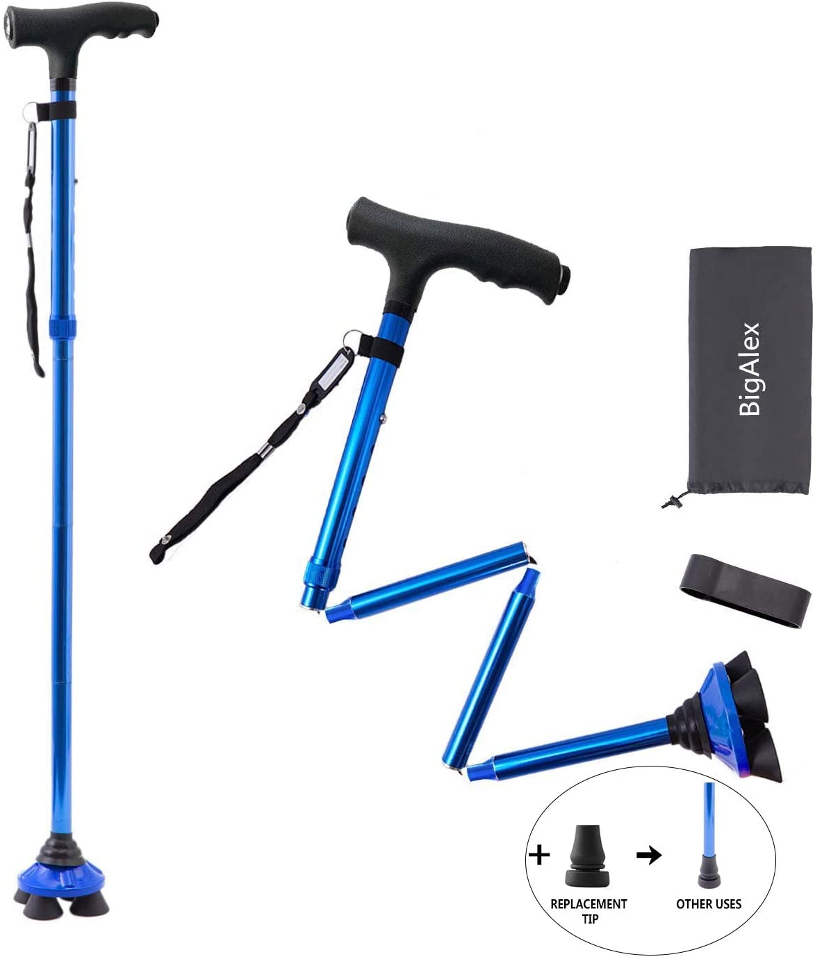 BigAlex Folding Walking Cane with LED Light,Pivoting Quad Base,Adjustable Walking Stick with Carrying Bag for Man/Woman (4.9'-5.6' Blue )