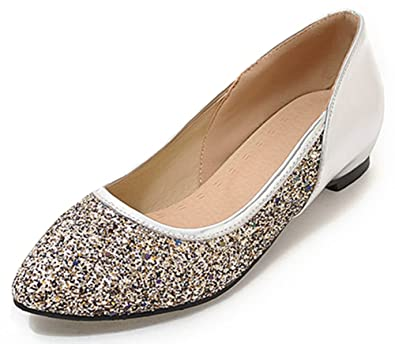 764f98dcedf SHOWHOW Women s Comfortable Sequins Pointy Low Cut Flats Wedding Pumps  Silver 4 B(M)
