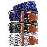 BMC Mens Wear 3pc Stretchy Woven Design Tricolor One Size Adjustable Belt Set - Natural Neutrals