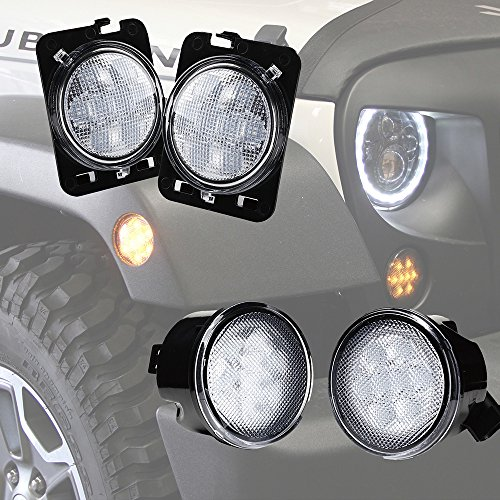 Xprite Clear Lens Yellow LED Front Replacement Turn Signal Light & Fender Side Marker Light Assembly for 2007-2018 Jeep Wrangler JK (2012 Clear Led)