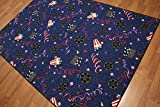5'4''x7'8'' Blue, Red, Ivory, Multi Color Machine Made Polypropylene Indonesian High Density Movie Theme Rug
