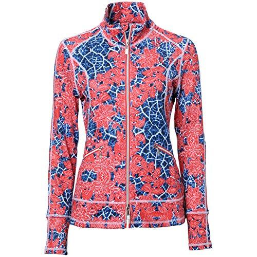 Spanner Golf Womens Batik Print Full Zip Jacket Red Xs