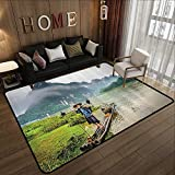 Printed Carpet,Lake House Decor Collection,Traditional Chinese Fisherman with Birds and Basket on River Fog Mountains Nature Trees,Mult 59'x 71' Kitchen Mat for Living Room
