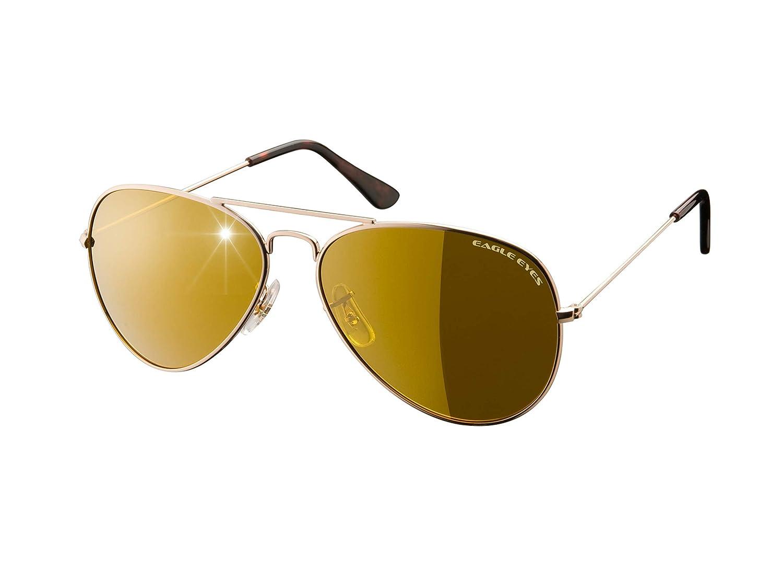 51f987902e Amazon.com  Eagle Eyes Classic Aviator Sunglasses - Stainless Steel Frame  (Gold