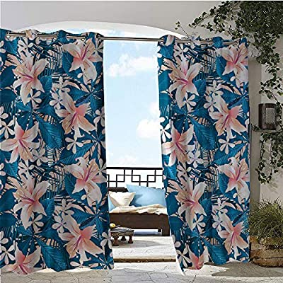 Balcony Curtains, Singapore Plumeria and Tropical Hibiscus Hawaiian Flowers Grunge Design, Outdoor Patio Curtains Waterproof with Grommets Pink White and Dark Blue