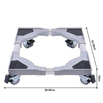 Dewel Base Móvil Ajustable para Lavadora Multifuncional con 4 Ruedas Giratorias Dobles de Goma Soporte para Lavadora, Secadora y Refrigerador,360°Giración: ...