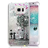 Galaxy S6 Edge Plus Case, Crazy Panda Creative Design Glitter Shiny Quicksand Sparkle Stars and Flowing Liquid Transparent Plastic Case for Samsung Galaxy S6 Edge Plus - Danlelion Lovers
