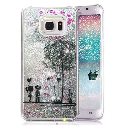 Galaxy S6 Edge Plus Case, Crazy Panda Creative Design Glitter Shiny Quicksand Sparkle Stars and Flowing Liquid Transparent Plastic Case for Samsung Galaxy S6 Edge Plus - Danlelion Lovers