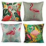 VAKADO Outdoor Flamingo Throw Pillow Covers Cases Tropical Leaves Decorative Cushion Quote Home Decor 18x18 Set of 4 Patio Couch Sofa Bedding