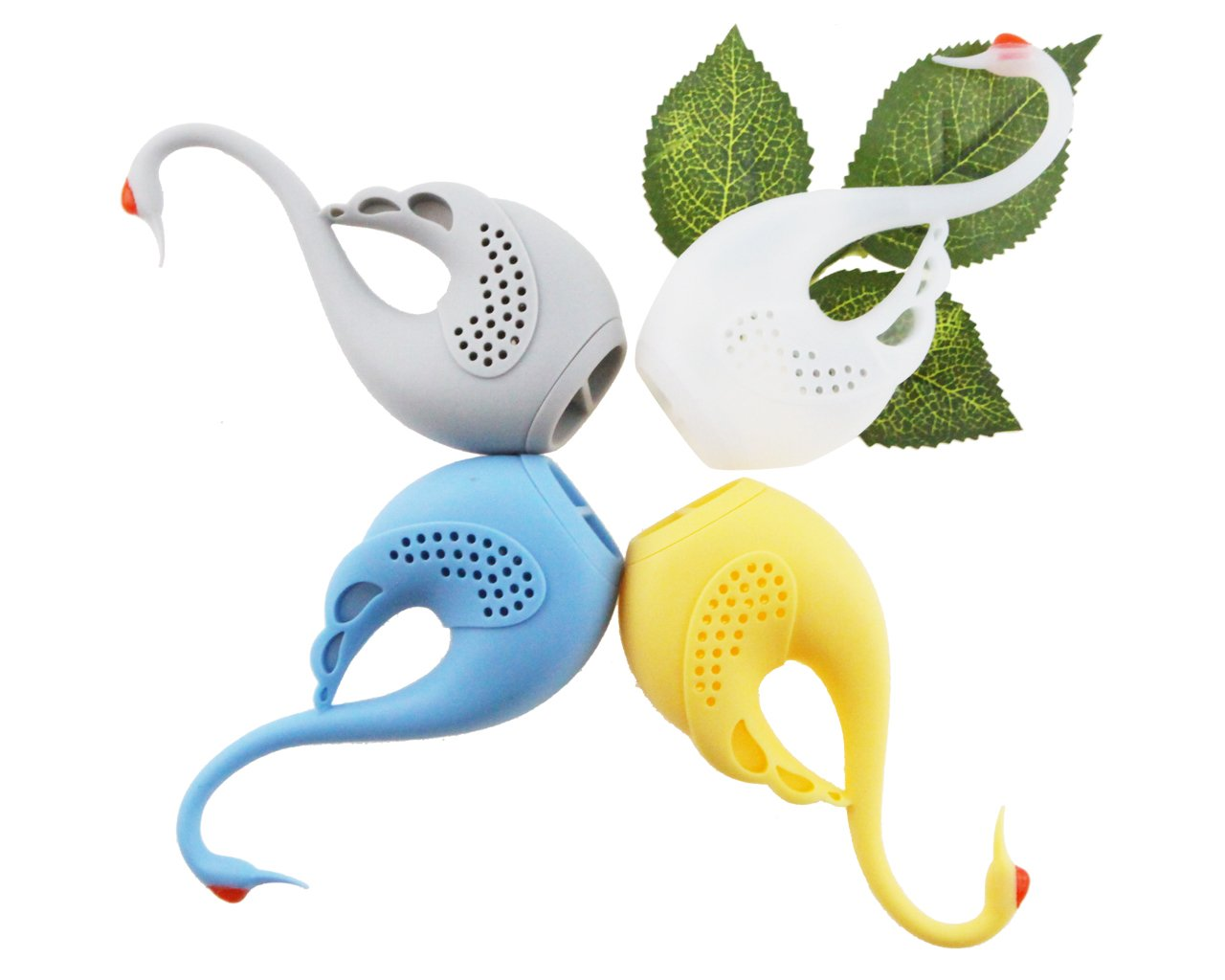 Set of 4 Cute Animal Eco-friendly Swan Tea Infuser Reusable BPA-Free Silicone Strainer With Yellow Blue Gray White Tea Lover/'s Gift